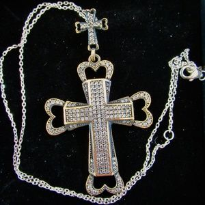 new 925 cross heart necklace pendant bronze topaz